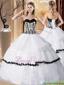Dramatic Floor Length White Quinceanera Dresses Sweetheart Sleeveless Lace Up