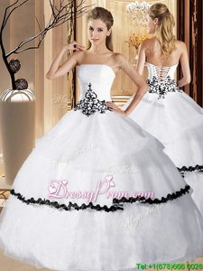 Strapless Sleeveless Quinceanera Gown Floor Length Appliques and Ruffled Layers White Organza