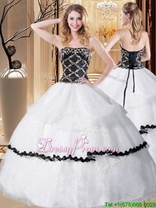 Extravagant Ball Gowns 15th Birthday Dress White And Black Strapless Organza Sleeveless Floor Length Lace Up