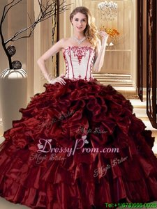 Designer Wine Red Ball Gowns Ruffles Sweet 16 Quinceanera Dress Lace Up Organza Sleeveless Floor Length