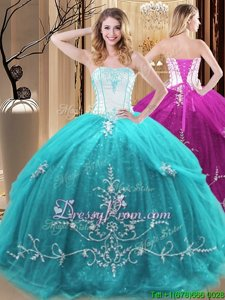 Romantic Aqua Blue Sleeveless Tulle Lace Up Quinceanera Gowns forMilitary Ball and Sweet 16 and Quinceanera