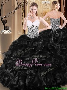 Modern Black Tulle Lace Up Sweetheart Sleeveless Floor Length Sweet 16 Dresses Ruffles and Pattern