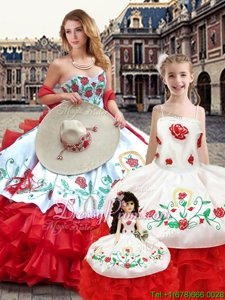 White And Red Ball Gowns Sweetheart Sleeveless Organza Floor Length Lace Up Embroidery Sweet 16 Quinceanera Dress